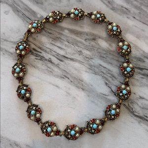 """Vintage Gold Tone Bejeweled Necklace 15.5"""" Long"""